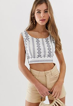 Parisian embroidered cropped blouse-White