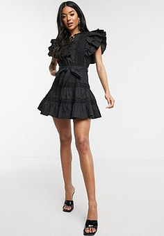 Parisian frill sleeve lace trim mini dress in black