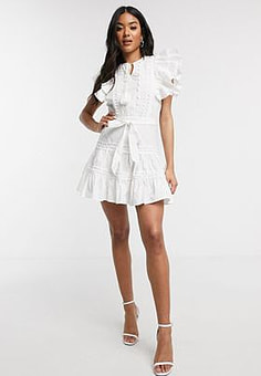 Parisian frill sleeve lace trim mini dress in white
