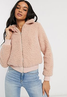 Parisian jacket in borg-Pink
