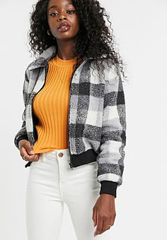 Parisian jacket in check borg-Multi