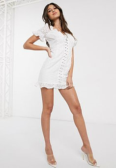 Parisian lace up front broderie mini dress in white