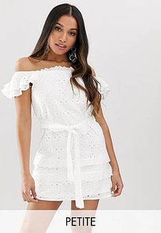 Parisian off shoulder white dress in broderie anglaise