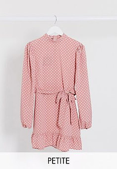 Parisian polka dot shift dress with tie waist in dusky pink