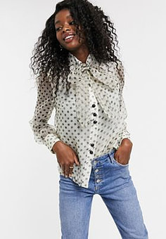 Parisian pussybow blouse in spotty organza-White