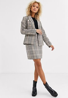 Parisian tailored a line mini skirt in check-Multi