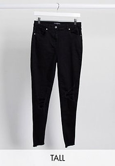 Parisian skinny jeans with ripped knee in black