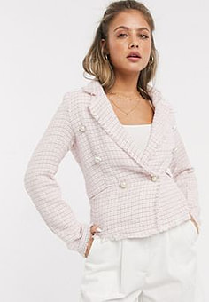 Parisian tweed blazer with pearl effect buttons-Pink