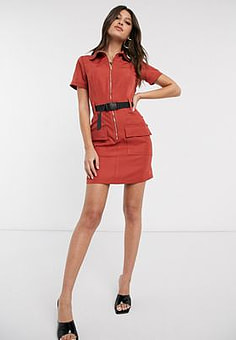 Parisian utility mini dress with seat belt buckle in rust-Red