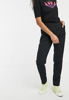 People Tree handwoven pinstripe trousers-Black