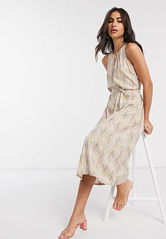 People Tree midi dress with tie waist in abstract print-Multi