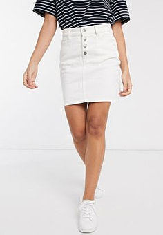 People Tree organic cotton denim mini skirt-White
