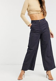 People Tree organic cotton wide leg trousers in stripe-Navy