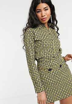 People Tree x V&A archive tile print shirt co-ord-Green
