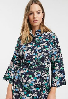 People Tree x V&A organic cotton kimono shirt in floral print co-ord-Blue