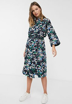 People Tree x V&A organic cotton wrap skirt in floral print co-ord-Blue