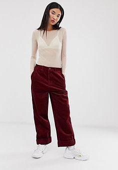 Pepe Jeans Carley straight cut corduroy trousers-Red