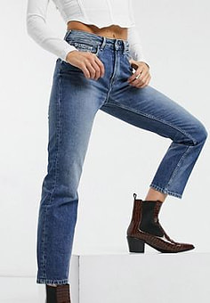 Pepe Jeans Mary high waist straight leg jeans in blue