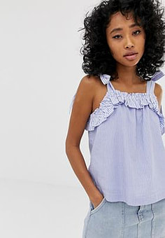 Pepe Jeans Miley frill vest top-Blue