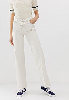 Pepe Jeans Strand lace up flared jeans-Cream