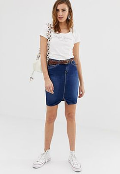 Pepe Jeans Taylor denim pencil skirt-Blue