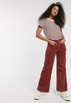 Pimkie cropped co ord cord trousers in rust-Red