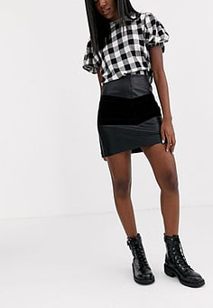 Pimkie faux leather/suede mini skirt in black