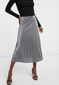 Pimkie glitter pleated skirt in silver