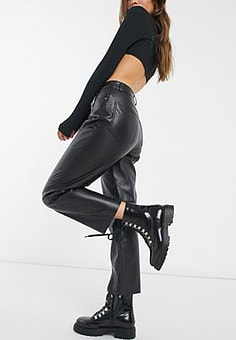 Pimkie straight leg faux leather trousers in black