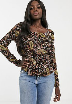 Pimkie synch waist blouse in paisley print-Black