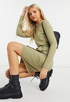 Pimkie tie waist ribbed midi dress in green