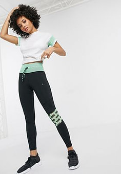 Puma Feel It mesh cropped leggings in green
