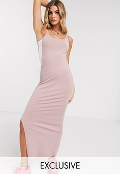 Puma low back dress with side split in rose - exclusive to ASOS-Pink