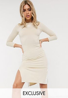 Puma Midi Dress with Side Split in cream exclusive to ASOS
