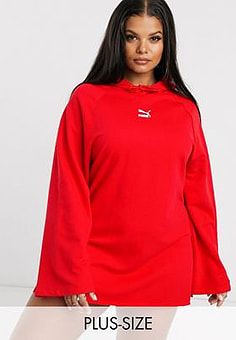 Puma Plus Hooded Dress in red exclusive at ASOS