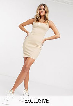 Puma ribbed mini dress in beige - exclusive to ASOS-Grey