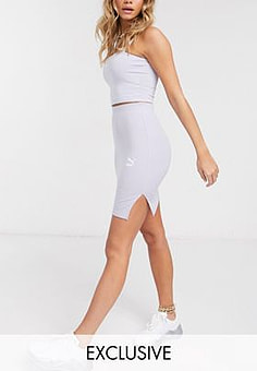 Puma ribbed mini skirt in lilac - exclusive to ASOS-Purple
