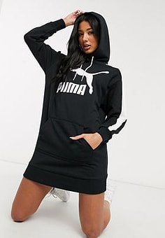 Puma T7 Logo sweat dress in black
