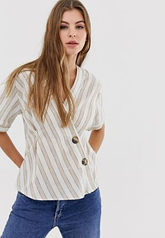 QED London asymmetric shirt in natural stripe-Multi