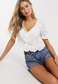 QED London broderie anglais top in white