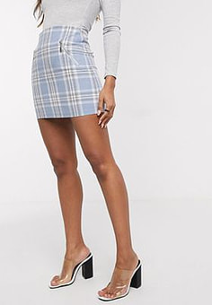 QED London check mini skirt in pale blue