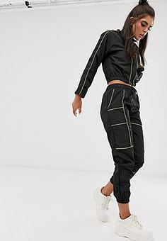 QED London contrast piping elasticated cuff joggers in black and lime