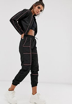QED London contrast piping elasticated cuff joggers in black and pink