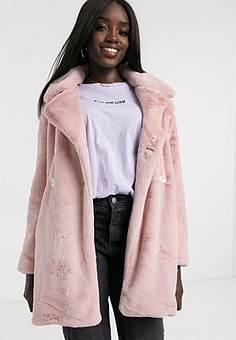 QED London double breasted faux fur coat in pink