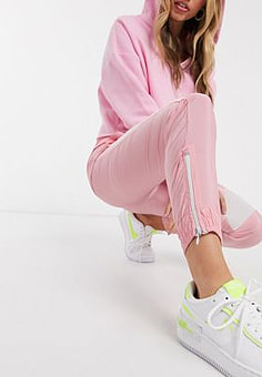 QED London elasticated cuff cargo trousers with stripe in pink