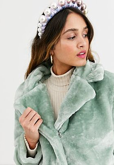 QED London faux fur coat in mint-Green