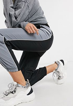 QED London joggers with contrasting side panel in black