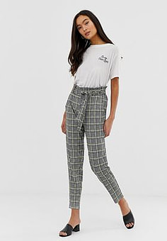 QED London paperbag waist peg trousers in houndstooth with neon yellow check-Multi