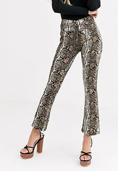 QED London zip front trousers in snake-Multi