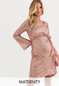 Queen Bee Maternity sequin skater dress with belt in rose gold-Pink